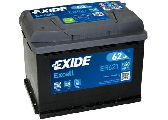 Μπαταρία αυτοκινήτου Exide Excell EB621 - 12V 62Ah - 540 CCA A(EN) εκκίνησης