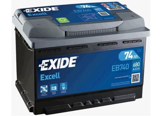 Μπαταρία αυτοκινήτου Exide Excell EB740 - 12V 74Ah - 680 CCA A(EN) εκκίνησης