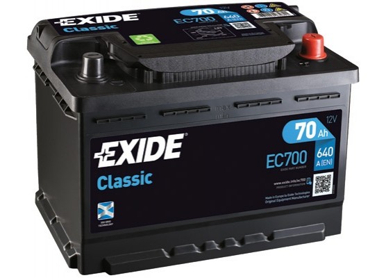 Μπαταρία αυτοκινήτου Exide Classic EC700 - 12V 70Ah - 640CCA A(EN) Εκκίνησης