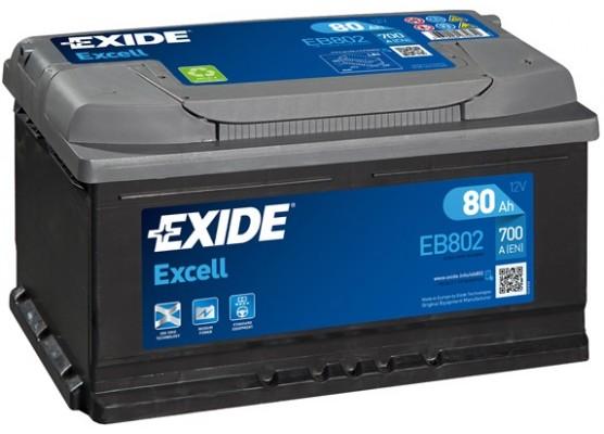 Μπαταρία αυτοκινήτου Exide Excell EB802 - 12V 80Ah - 700 CCA A(EN) εκκίνησης