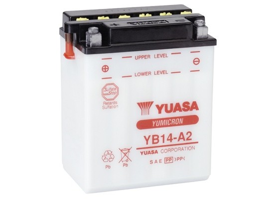 Μπαταρία μοτοσυκλετών YUASA Yumicron YB14-A2 - 12V 14 (10HR) - 190 CCA (EN) εκκίνησης