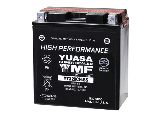 Μπαταρία μοτοσυκλετών YUASA USA High Performance Maintenance Free YTX20CH-BS (YTX20A-BS) -12V 18.9 (20HR)Ah - 270 CCA(EN) εκκίνησης