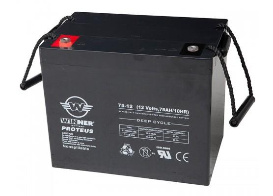 Μπαταρία Winner Proteus VRLA - Deep Cycle AGM τεχνολογίας - 12V 75Ah
