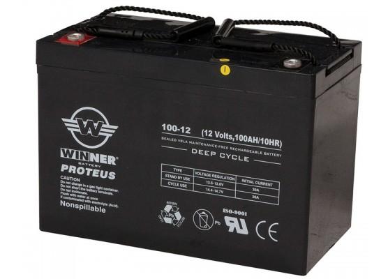 Μπαταρία Winner Proteus VRLA - Deep Cycle AGM τεχνολογίας - 12V 100Ah