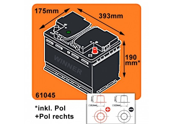 Μπαταρία αυτοκινήτου Winner Premium HP 61045 - 12V 110Ah - 920CCA(EN) εκκίνησης