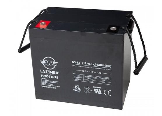 Μπαταρία Winner Proteus VRLA - Deep Cycle AGM τεχνολογίας - 12V 55Ah