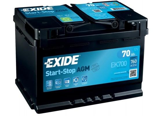 Μπαταρία αυτοκινήτου Exide AGM Start & Stop EK700 - 12V 70 Ah - 760CCA A(EN) Εκκίνησης