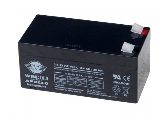 Μπαταρία Winner Apollo VRLA - AGM τεχνολογίας - 12V 3.4Ah κατάλληλη για συστήματα συναργεμών ασφαλείας