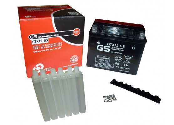 Μπαταρία μοτοσυκλετών GS Maintenance Free GTX12-BS - 12V 10Ah (10HR)- 180 CCA(EN) εκκίνησης