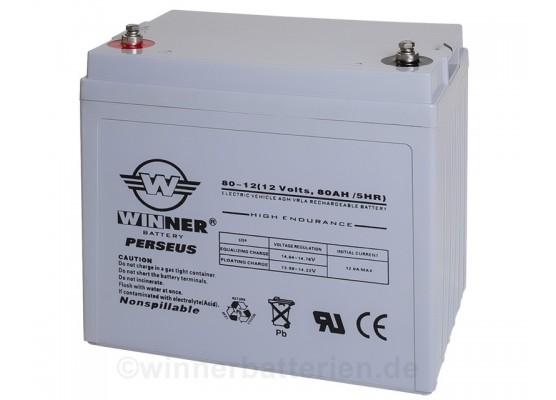 Μπαταρία Winner Perseus VRLA - AGM τεχνολογίας ηλεκτρικών οχημάτων - 12V 80Ah