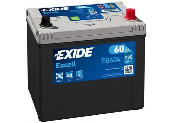Μπαταρία αυτοκινήτου Exide Excell EB604 - 12V 60Ah - 390 CCA A(EN) εκκίνησης