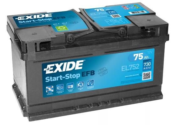 Μπαταρία αυτοκινήτου Exide EFB Start & Stop EL752 - 12V 75 Ah - 730CCA A(EN) Εκκίνησης