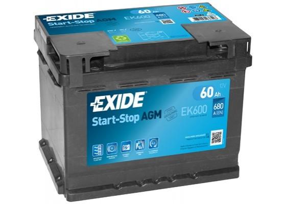 Μπαταρία αυτοκινήτου Exide AGM Start & Stop EK600 - 12V 60 Ah - 680CCA A(EN) Εκκίνησης