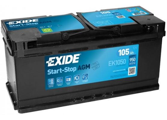 Μπαταρία αυτοκινήτου Exide AGM Start & Stop EK1050 - 12V 105 Ah - 950CCA A(EN) Εκκίνησης