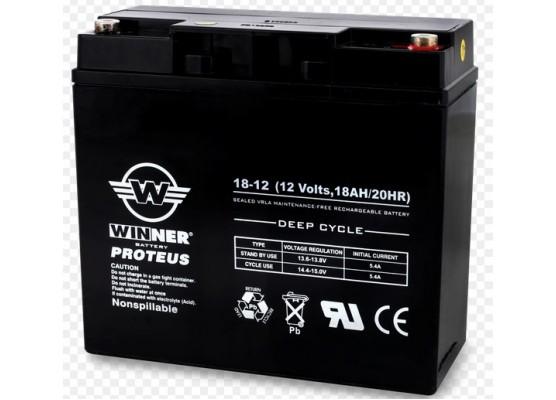 Μπαταρία Winner Proteus VRLA - Deep Cycle AGM τεχνολογίας - 12V 18Ah (Τ12)