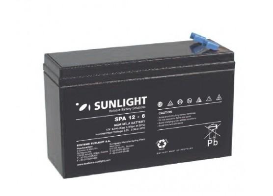 Μπαταρία Sunlight SPA12-6 VRLA - AGM τεχνολογίας - 12V 6Ah (C20)