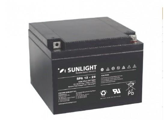 Μπαταρία Sunlight SPA12-26 VRLA - AGM τεχνολογίας - 12V 26Ah (C20)