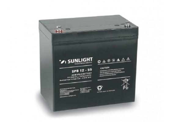 Μπαταρία Sunlight SPB12-55 VRLA - AGM τεχνολογίας - 12V 55Ah (C10)