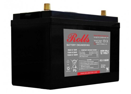 Μπαταρία Rolls AGM SERIES 2 βαθιάς εκφόρτισης R12-110AGM - 12V 110Ah (C20)
