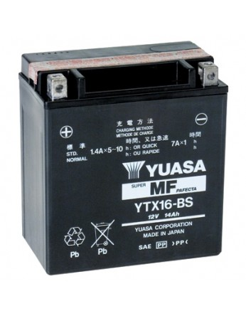 Μπαταρία μοτοσυκλετών YUASA TAIWAN Maintenance Free YTX16-BS - 12V 14 (10HR)Ah - 230 CCA(EN) εκκίνησης