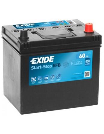 Μπαταρία αυτοκινήτου Exide EFB Start & Stop EL604 - 12V 60 Ah - 520CCA A(EN) Εκκίνησης