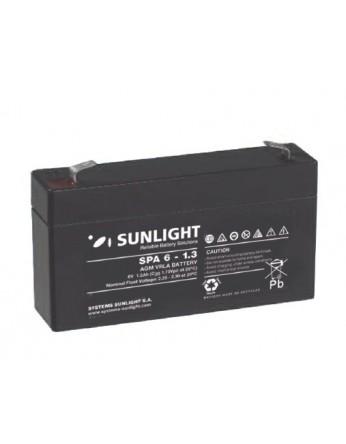 Μπαταρία Sunlight SPA6-1.3 VRLA - AGM τεχνολογίας - 6V 1.3Ah (C20)