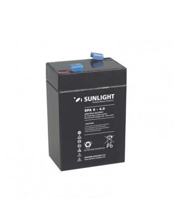 Μπαταρία Sunlight SPA6-4.5 VRLA - AGM τεχνολογίας - 6V 4Ah (C20)
