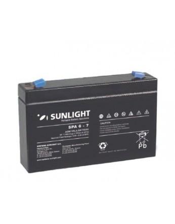 Μπαταρία Sunlight SPA6-7 VRLA - AGM τεχνολογίας - 6V 7Ah (C20)