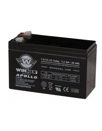Μπαταρία Winner Apollo VRLA - AGM τεχνολογίας - 12V 7.2Ah (T1) κατάλληλα για συστήματα συναγερμών ασφαλείας, συστήματα ups