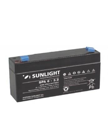 Μπαταρία Sunlight SPA6-3.2 VRLA - AGM τεχνολογίας - 6V 3.2Ah (C20)