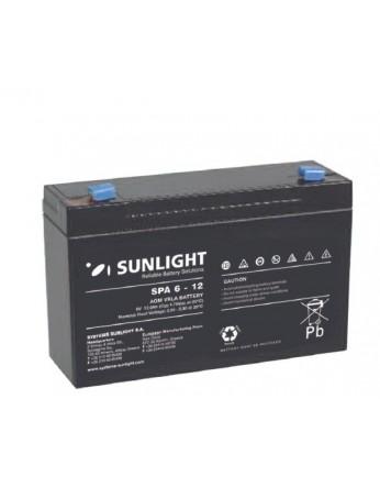 Μπαταρία Sunlight SPA6-12 VRLA - AGM τεχνολογίας - 6V 12Ah (C20)